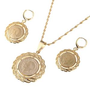 Etíope Coin Jewelry Set Colar Pingente Brincos Jóias Habesha Casamento Eritreia África Presente