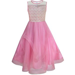 Sunny Fashion Flower Girls Dress Embroidered Sequin Wedding Pageant Bridesmaid 2017 Summer Princess Party Dresses Size 7-14