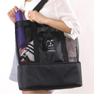 2019 High Capacity Women Mesh Transparent Bag Double-layer Heat Preservation Large Picnic Beach Bags Canvas bag student #4