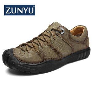 Zunyu nuevos hombres del cuero genuino calzan los zapatos cómodos ocasionales de los hombres de moda transpirable pisos Hombres Entrenadores zapatillas de deporte Zapatos
