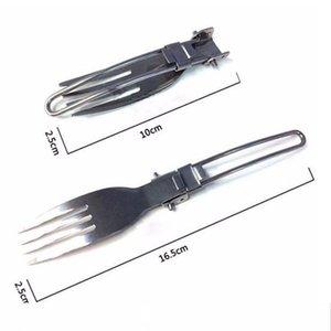 مجموعة 3pcs قابلة للطي التخييم أدوات المائدة أطباق المحمولة في الهواء الطلق فنون المائدة صحون المائدة الفولاذ المقاوم للصدأ أدوات المائدة سايلر مع هوب جيب