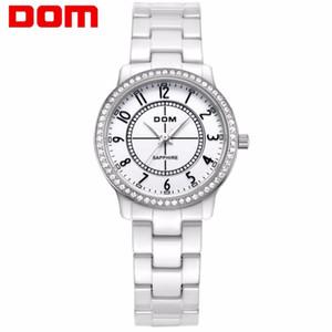 Moda Mulheres Diamantes de pulso Relógios DOM T-558 Cerâmica pulseira Top Luxo Marca Vestido Ladies Genebra relógio de quartzo