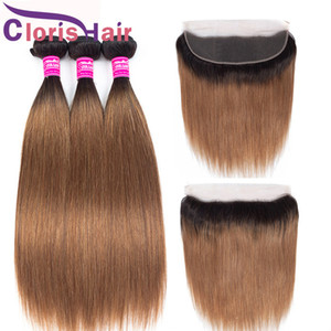 Blonde Ombre Feave Bundles Малайзийская девственница прямые человеческие волосы с 13x4 кружева лобные дешевые дешевые 1b / 30 Оберн коричневые цветные пучки с закрытием