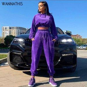 WannaThis capuche Vestes femme 2 Piece Set Top Automne Hiver Survêtements Sporting Costume Sweat deux pièces Matching Outfit Ensembles souple
