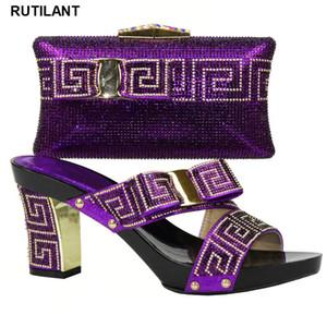 Женщины African Итальянская обувь и сумки наборы Фиолетовый Женская обувь и сумка Установить в Италии Matching Set украшенным каменными