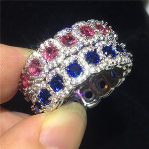 2 Cores anel de Dedo Carreira 925 Sterling Silver Rodada Cz Partido de Diamante aliança anel de casamento para as mulheres Dos Homens de jóias