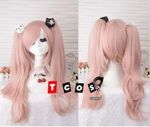 Danganronpa Dangan Ronpa Junko Enoshima peruca Light Pink resistente ao calor Sythentic grampo de cabelo rabo de cavalo peruca Cosplay