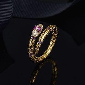 Serpente espírito anel de diamante de cristal serpente de ouro série nova marca personalidade criativa anel de dedo jóias
