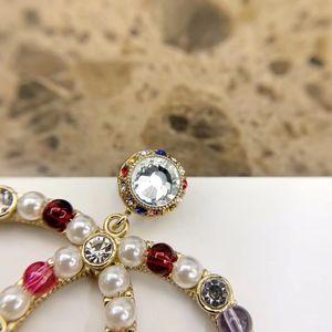 2020 de calidad superior broche pendiente de gran tamaño para joyería de regalo mujer de novia con perlas y diamantes de colores envío libre PS4255