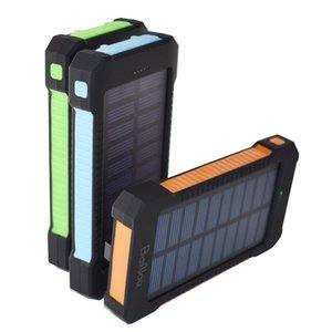 10000mAh Solar Power Bank com lanterna LED duplo cabeça Universal prova Três portátil ao ar livre Mobile Phone Charging Treasure