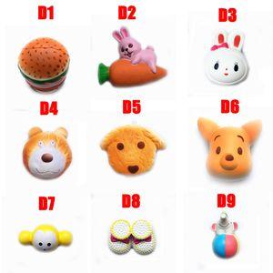 DHL Squishy Oyuncak hamburger tavşan köpek ayı squishies Yavaş 10cm 11cm 12cm 15cm Yumuşak D1-D10 Sevimli Kayış hediye Stres çocuk oyuncakları sıkın Rising