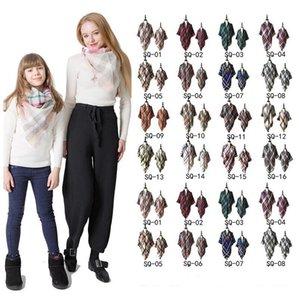 Padre-hijo EZYQ1510 tela escocesa de la bufanda de Pashmina mamá Moda para niños de gran tamaño del tartán del mantón del abrigo al aire libre de la borla de triángulo bufandas Marca caliente Manta