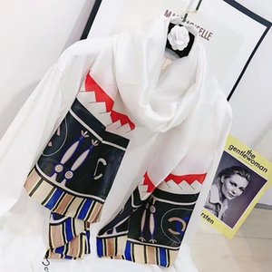 High quality 2019 Fashion autumn and winter brand silk scarves timeless classic, super long shawl fashion women's soft silk scarves001