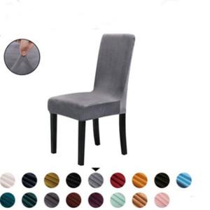 Inverno spesso sedia peluche copertura Stretch Solido Colore Slipcovers copertura della sedia elastica removibile Ristorante Matrimoni Chair Covers 17colors ZYQ106