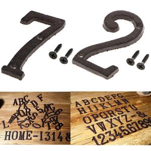 2pcs Fonte forgé Maison Noir antique porte Nombre signe Digits autocollant plaque 2 7