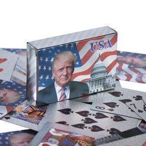 kutu DHL Kargo ile Kartlar Altın / Gümüş Folyo Pokers Set oynamak Donald Trump Poker ABD Başkanı