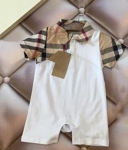 nouveaux enfants d'été bébé barboteuses vêtements marque label revers vêtements Plaid nouveau-né garçon garçon en bas âge fille barboteuse