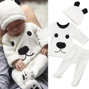 3pcs nouveau-nés filles bébé garçon manches longues overs Top Footies Pantalons Chapeau Tenues Set vêtements chauds d'hiver Fluffy mignon de bande dessinée