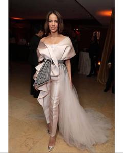Pearl Pink Evening Overall mit Zug 2020 Arabisch Aso Ebi edle reizvolle wulstige Kristall Prom Second Empfang Kleid plus Größe