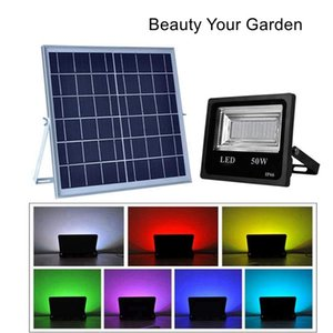 Solar Led Flood Lights ,Rgb Color Changing Outdoor Security Wall Lights Waterproof Remote Controlled Solar Spotlight For Garden ,Patio ,Yard