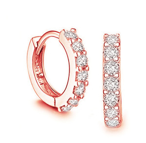 925 sterling silver small hoop earrings with zircon fashion jewelry engagement gift for women Flash drilling Earring HJ260