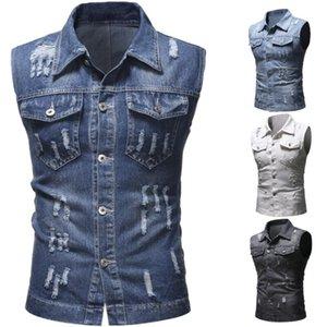 2020 Denim Vest Men's Jacket Sleeveless Casual Waistcoat Men's Jean Coat Ripped Slim Fit Male Jacket Cowboy M-2XL