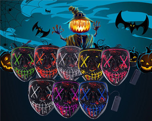 9styles Led Masque Masques Halloween Party Neon Masque Masque Glow Light In The Horror Mascara Masque Glowing Masker FFA3017
