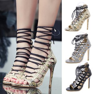 Sandals New Girls Womens Boots Sexy Lace-Up European And American-Style Snakeskin Pattern Stiletto Large Size Heel Height 11.5CM