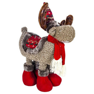 Christmas Plush Reindeer Doll Ornament with Telescopic Legs Stuffed Animal Toy Holiday Figurines Gift