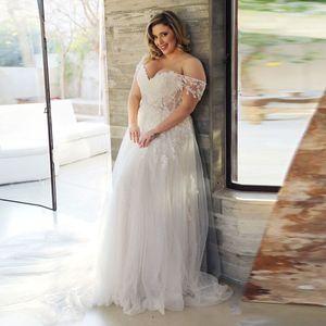 Plus Size Vestido de Noiva 2020 Off The Shoulder Tulle Lace apliques Boho Vestidos de casamento Illusion Big Size Trem da varredura Bride Dress personalizado