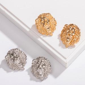 여성 사자 머리 스터드 귀걸이 금속 동물 사자 머리 귀걸이 골드 실버 패션 보석 액세서리 선물 파티