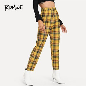 ROMWE Plaid Zip Side Pants Mujer Casual Primavera Otoño Media Cintura Zipper Fly Bottoms Mujeres Zanahoria cónica Multicolor Pantalones T190613