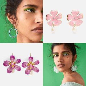 Declaração Dvacaman ZA Beads Flower Brincos de casamento étnicos Handmade na moda Grande Brincos Bohemian Jóias Presentes Atacado