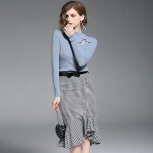 Мода Two Piece Set женщин платья 2020 осень зима Вязаный топ с длинным рукавом свитера Тонкий миди юбка Женщины Одежда
