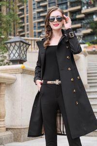 Coupe-vent femme coupe-vent à double boutonnage couleur unie trench-coat ceinture veste imperméable Slim mode trench coat2019 nouveau
