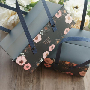 2 Size 5pcs Pink Flower dark blue Style Paper Box with Handle Roll Cake Candy Cookie Gift Packaging Wedding Use