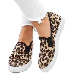 fashioin Women Spring Loafers Leopard Platform Female Canvas Casual Flats Slip On Vulcanized Shoes Ladies Shallow Comfort 2019