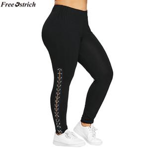 Pantaloni donna FREE OSTRICH Plus Size Pantaloni donna Leggings con lacci laterali Hollow Out Pantaloni moda casual L-XXXXXL dropship