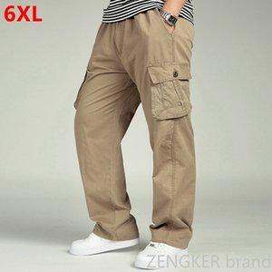 Günstige Fracht Frühling und Herbst Männer verlieren große Größe gerade übergroße elastische Taillenhose der beiläufigen Hosen Männer 6XL 5XL