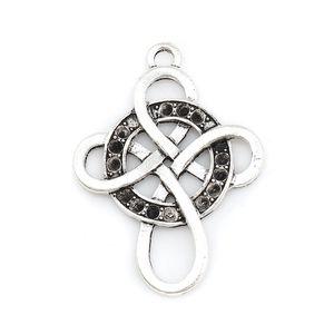 Joyería DoreenBeads base de zinc de la aleación del nudo Cruz colgantes de plata antigua flor redonda encantos de las hojas, el collar DIY 20 PCS