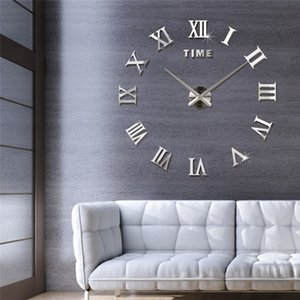 Hot Roman Number Creative Wall Clock Personality Designer Home Mirror Acrylic Wall Clock Living Room Decoration Bedroom Wall Sticker DIY Mut
