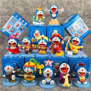 12pcs / Lot Anime Doraemon 35 Anniversary Edition Makine Kedi Modeli Dekorasyon PVC Action Figure Çocuk oyuncakları