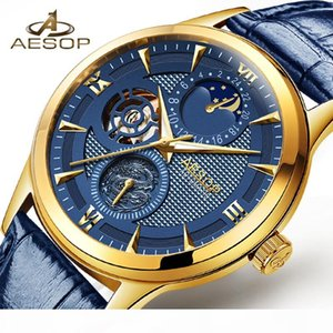 AESOP Luxury Moon phase Calendar Blue Dial Gold Mens Mechanical Watches Top Genuine Leather Strap Skeleton Watch