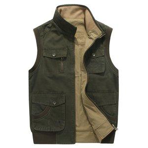 Mens Casual Sólidos Coletes Coats soltas de algodão multi Pocket Plus Size Tops Breve Zipper Masculino Casacos
