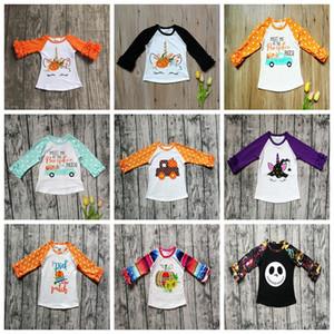 Halloween Niños Camisetas Polka Dot Ruffle Tops Niños Imprimir Calabaza Algodón Camisetas Bebé Ropa Camisas de manga larga GGA2641