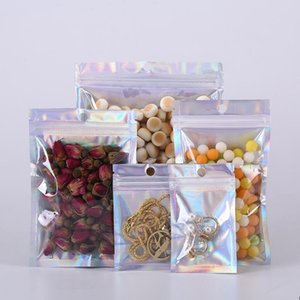 Laser Clear Aluminum Foil Bag Empty Self Seal Zipper Lock Food Bag Resealable Jewelry Snack Food Packaging Pouch Clear Window Mylar Bags