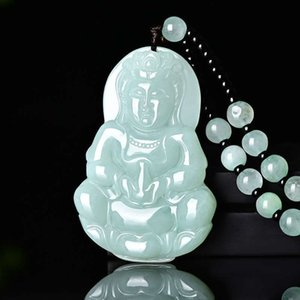 Certificate Natural Emerald Guanyin Buddha Jade Pendant Bead Necklace Charm Jewellery Fashion Hand-Carved Man Woman Luck Amulet