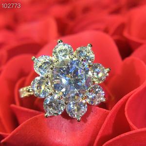 فاخر مصمم كلاسيكي S925 فضة كاملة الزركون زهرة الشمس أربع أوراق البرسيم سحر خاتم الزواج للمجوهرات النساء