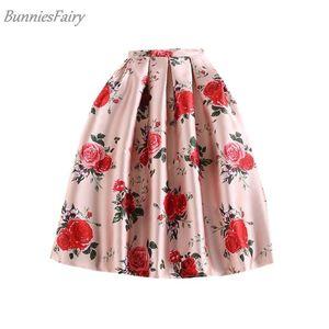 Bunniesfairy Spring New Sweet Princess Style Donna Rosa Retro Rosa Fiore Stampa a vita alta Gonna longuette Saia Longa Plissada Y19043002