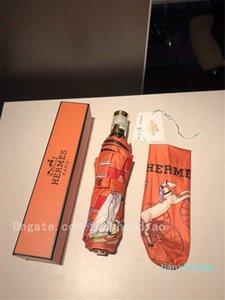 Пользовательские Оранжевый цвет Эксклюзивный заказ ретро лошадь печати Luxury Home Зонт Luxury ВС Зонтики Защита от ультрафиолетовых лучей дождя Зонтики